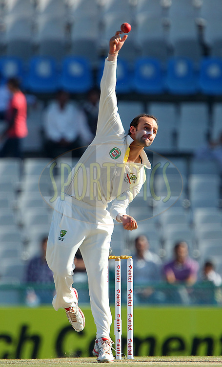 Nathan Lyon of Australia during day 4 of the 3rd Airtel Test Match between India and Australia held at the PCA Stadium, Mohali, India on the 17th March 2013..Photo by Ron Gaunt/BCCI/SPORTZPICS ..Use of this image is subject to the terms and conditions as outlined by the BCCI. These terms can be found by following this link:..http://www.sportzpics.co.za/image/I0000SoRagM2cIEc