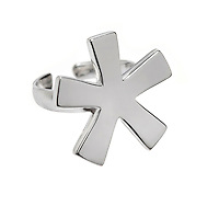 Silver asterisk ring on white background