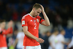 Chris Gunter of Wales looks dejected at full time. - Mandatory by-line: Alex James/JMP - 12/11/2016 - FOOTBALL - Cardiff City Stadium - Cardiff, United Kingdom - Wales v Serbia - FIFA European World Cup Qualifiers