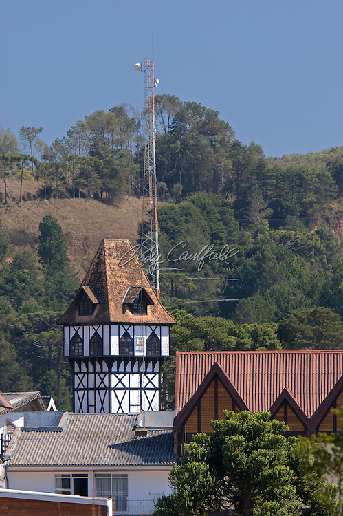 Geneve tower and rooftops in the center of Vila Capivari, Campos do Jordao, SP, Brazil.