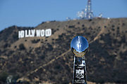 General overall view of Lombardi Trophy with the Hollywood sign and Mount Lee as a backdrop in Los Angeles, Wednesday, Sept. 19, 2018. Super Bowl I and VII were played at the Los Angeles Memorial Coliseum.The NFL championship game will return to Los Angeles for Super Bowl XLVI at LA Stadium at Hollywood Park in Inglewood, Calif. in 2022.