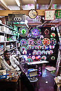 Buddhist accessories and LED lighting. Yangon, Myanmar.