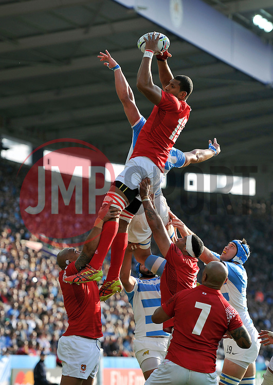 Steve Mafi of Tonga wins the ball at a lineout  - Mandatory byline: Patrick Khachfe/JMP - 07966 386802 - 04/10/2015 - RUGBY UNION - Leicester City Stadium - Leicester, England - Argentina v Tonga - Rugby World Cup 2015 Pool C.