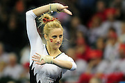 University of Utah freshman Mary Beth Lofgren during her floor exercise routine at the 2011 Women's NCAA Gymnastics Championship Team Finals on April 16, in Cleveland, OH. (photo/Jason Miller)
