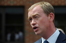 © Licensed to London News Pictures. 01/06/2017. London, UK.  Liberal Democrat Leader Tim Farron speaks to the media after a visit to Shiraz Mirza Community Centre in Norbiton to meet local voters.  Photo credit : Stephen Chung/LNP