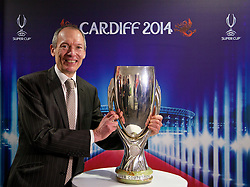 +++ FREE USE FOR STORIES PROMOTING THE UEFA SUPER CUP 2014 ONLY +++<br /> <br /> CARDIFF, WALES - Monday, February 17, 2014: John Griffiths Minister for Culture and Sport at the launch the UEFA Super Cup 2014 which will be played at the Cardiff City Stadium on 12th August. (Pic by David Rawcliffe/Propaganda)