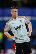 Valencia CF forward Kevin Gameiro (9) warms up during the Champions League match between Chelsea and Valencia CF at Stamford Bridge, London, England on 17 September 2019.