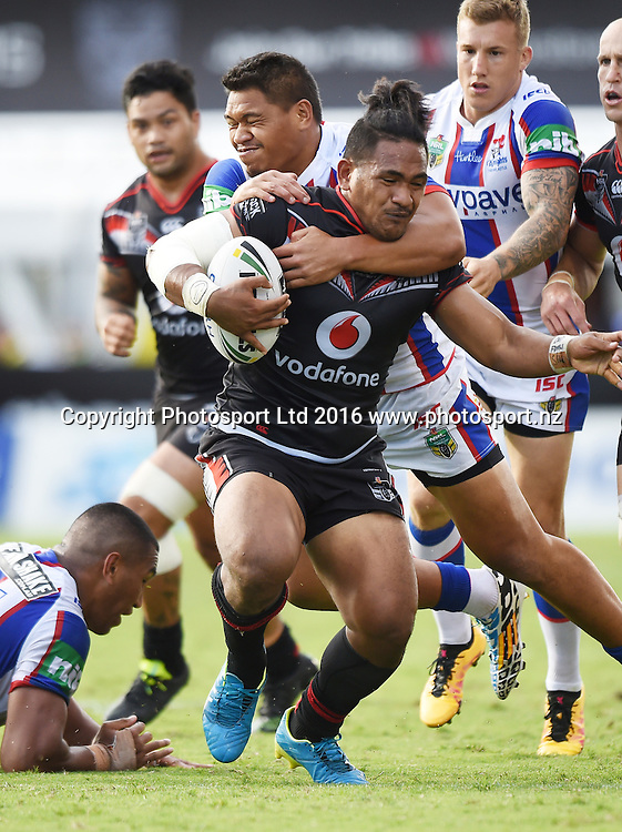 Solomone Kata during the NRL Rugby League match. Vodafone Warriors v Knights, Mt Smart Stadium, Auckland, New Zealand. Easter Monday, 28 March 2016. Copyright Photo: Andrew Cornaga / www.Photosport.nz