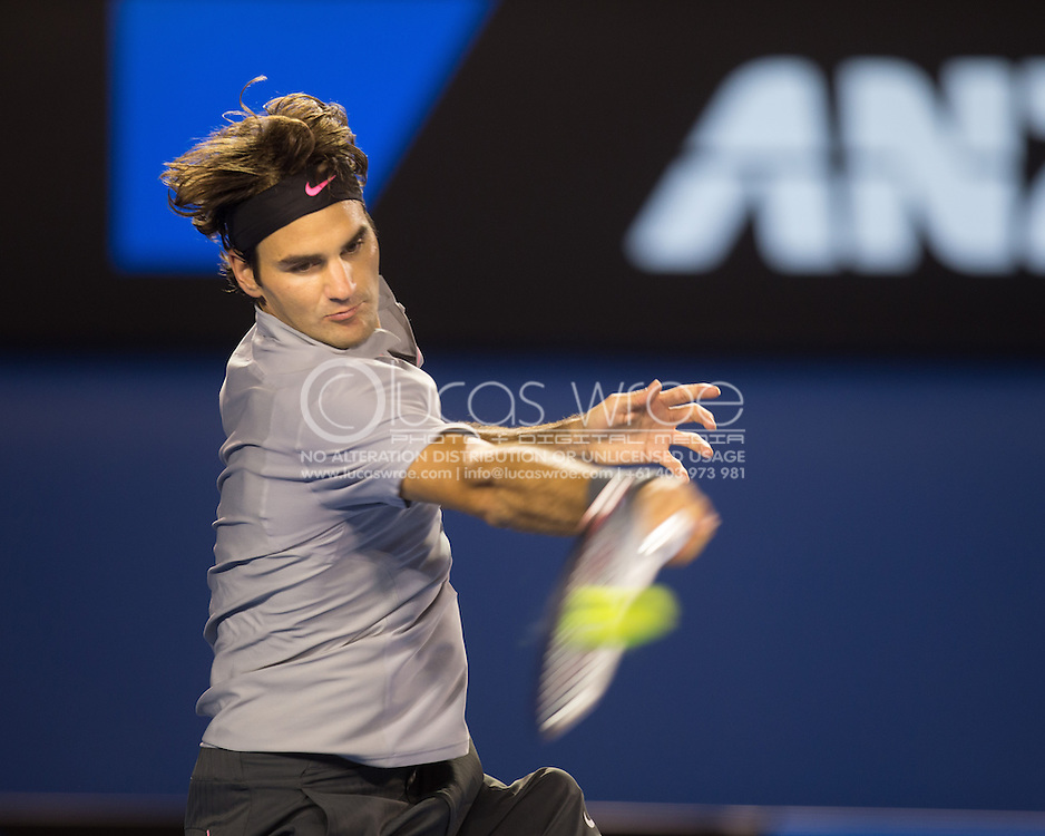 Roger Federer (SUI). Day 9. Quater Finals. Melbourne Olympic Park, Melbourne, Victoria, Australia. 22/01/2013. Photo By Lucas Wroe