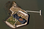 Aerial view of Fort Sumter National Monument site where the Civil War began in Charleston, SC.