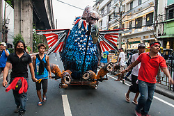 May 1, 2017 - Manila, Metro Manila, Philippines - An effigy of the U.S. government as a vulture, being pulled on its way to Mendiola Bridge in Manila. Labor groups and activists held a Labor Day program at Lawton, Manila before proceeding to Mendiola Bridge near the presidential palace, Malacanang. The protesters called for the abolition of job contractualization, better benefits, and job security. (Credit Image: © J Gerard Seguia via ZUMA Wire)