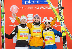 Second placed Peter Prevc of Slovenia, winner Severin Freund of Germany and third placed Stefan Kraft of Austria in Overall World Cup classification celebrate during final trophy ceremony after the Ski Flying Individual Competition at Day 4 of FIS World Cup Ski Jumping Final, on March 22, 2015 in Planica, Slovenia. Photo by Vid Ponikvar / Sportida