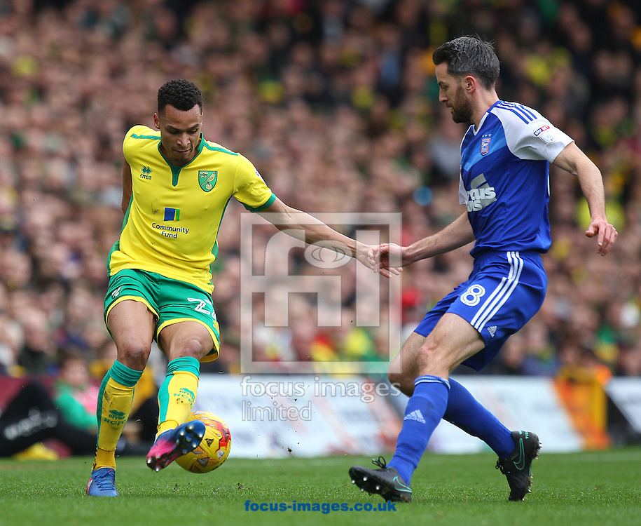 Jacob Murphy of Norwich and Cole Skuse of Ipswich Town in action during the Sky Bet Championship match at Carrow Road, Norwich<br /> Picture by Paul Chesterton/Focus Images Ltd +44 7904 640267<br /> 26/02/2017