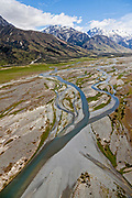 braided Tasman River leading towards the heart of Mt Cook