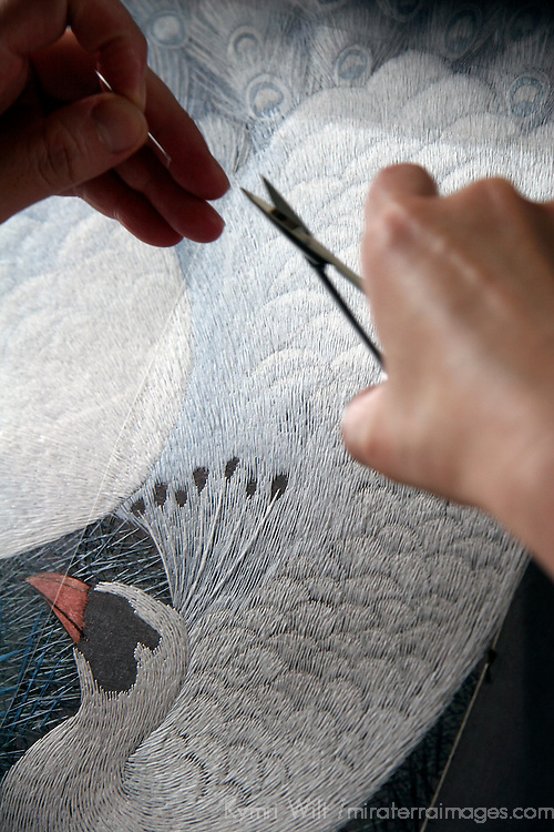 Asia, China, Suzhou. Chinese silk embroider clipping thread.