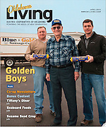 Cover photo for Oklahoma Living Magazine April 2013.  Photo of Blue and Gold sausage founder Don Ramsey and his sons Bret and Greg.