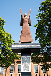 La Pasionaria Statue.depicting  Dolores Ibárruri  by Arthur Dooley on Clyde Street central Glasgow, United Kingdom
