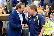 Hull City manager Leonid Slutsky and Burton Albion manager Nigel Clough during the EFL Sky Bet Championship match between Hull City and Burton Albion at the KCOM Stadium, Kingston upon Hull, England on 12 August 2017. Photo by Richard Holmes.