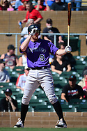 SCOTTSDALE, AZ - FEBRUARY 25:  DJ LeMahieu #9 of the Colorado Rockies stands at bat during the spring training game against the Arizona Diamondbacks at Salt River Fields at Talking Stick on February 25, 2017 in Scottsdale, Arizona.  (Photo by Jennifer Stewart/Getty Images)