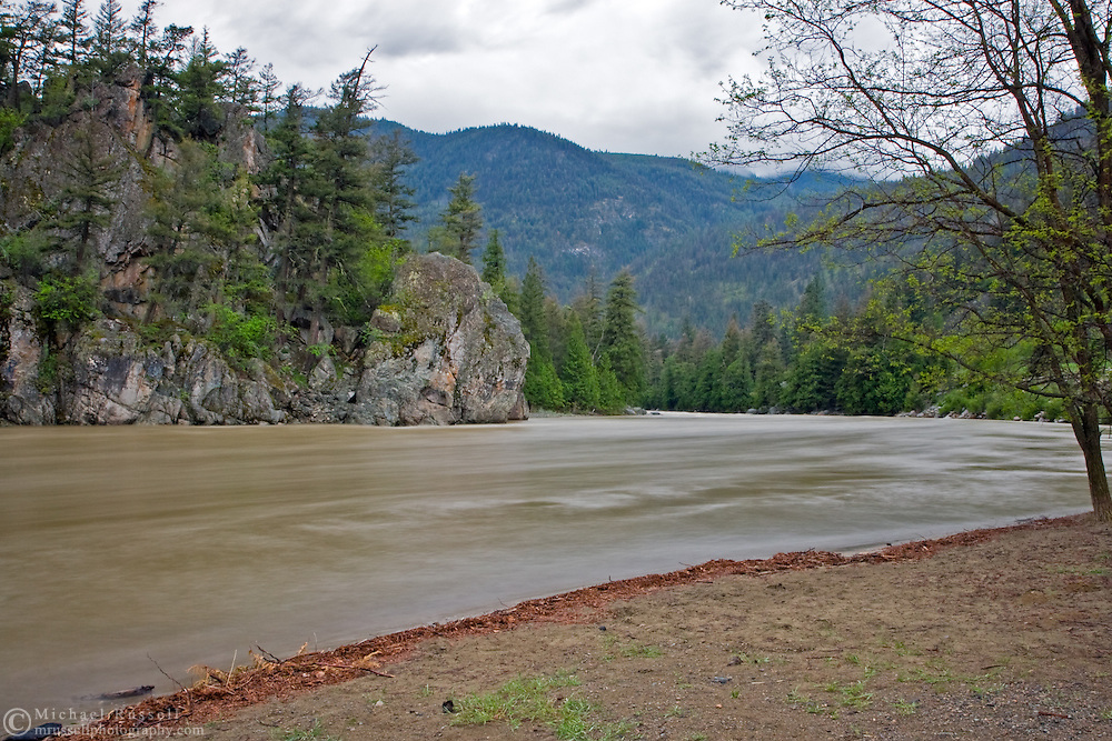 The beach at Bromley Rock Provincial Park is covered by the rising waters of the Similkameen River. Bromley Rock Provincial Park is between Hedley and Princeton in British Columbia's Thompson Okanagan region.