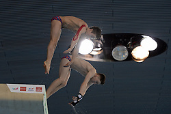 25.04.2014, Aquatics Centre, London, ENG, FINA, NVC Diving World Series 2014, Tag 1, im Bild Jack Laugher and Chris Mears of Great Britain competing in the men's synchro 10m platform // Jack Laugher and Chris Mears of Great Britain competing in the men's synchro 10m platform during day one of the FINA/NVC Diving World Series 2014 Aquatics Centre in London, Great Britain on 2014/04/25. EXPA Pictures © 2014, PhotoCredit: EXPA/ Mitchell Gunn<br /> <br /> *****ATTENTION - OUT of GBR*****