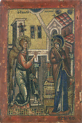 The Annunciation': The angel Gabriel appearing to the Virgin Mary telling her she would become the mother of Christ. 14th century Byzantine mosiac.