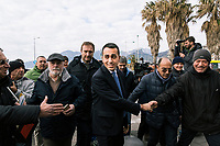 SALERNO, ITALY - 11 FEBRUARY 2018: Luigi Di Maio (31), running for Prime Minister of Italy with the Five Stars Movement (M5S, Movimento 5 Stelle) arrives at a rally in Salerno, Italy, on  February 11th 2018.<br /> <br /> The 2018 Italian general election is due to be held on 4 March 2018 after the Italian Parliament was dissolved by President Sergio Mattarella on 28 December 2017.<br /> Voters will elect the 630 members of the Chamber of Deputies and the 315 elective members of the Senate of the Republic for the 18th legislature of the Republic of Italy, since 1948.
