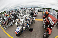 Bikes lining Lakeside Avenue in Weirs Beach for the 88th annual Laconia Motorcycle Rally Week June 13, 2011.