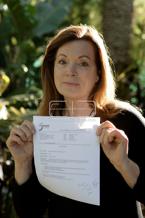 31st December 2009. Montecito, California. Frequent international traveler, Berna Kieler, who has complained to authorities that the 12 inch titanium rod in her hip, registers on all airport x-ray machines except at JFK airport, in New York. PHOTO © JOHN CHAPPLE / www.chapple.biz.john@chapple.biz  (001) 310 570 9100.