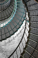 Pattern of spiral staircase inside Currituck Beach Lighthouse in Corolla North Carolina.