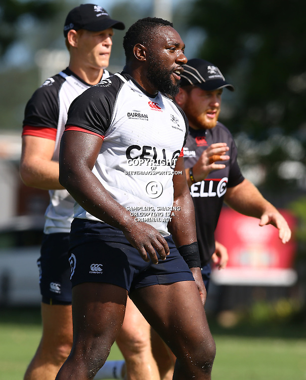 Tendai Beast Mtawarira during The Cell C Sharks Pre Season training, session at Growthpoint Kings Park in Durban, South Africa. 16 February 2017(Photo by Steve Haag)<br /> <br /> images for social media must have consent from Steve Haag