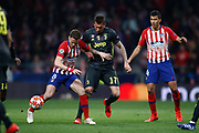 Saul Niguez of Atletico de Madrid and Mario Mandzukic of Juventus during the UEFA Champions League, round of 16, 1st leg football match between Atletico de Madrid and Juventus on February 20, 2019 at Wanda metropolitano stadium in Madrid, Spain - Photo Oscar J Barroso / Spain ProSportsImages / DPPI / ProSportsImages / DPPI
