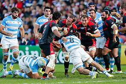 Georgia Number 8 Mamuka Gorgodze (capt) is tackled by Argentina Number 8 Facundo Isa - Mandatory byline: Rogan Thomson/JMP - 07966 386802 - 25/09/2015 - RUGBY UNION - Kingsholm Stadium - Gloucester, England - Argentina v Georgia - Rugby World Cup 2015 Pool C.