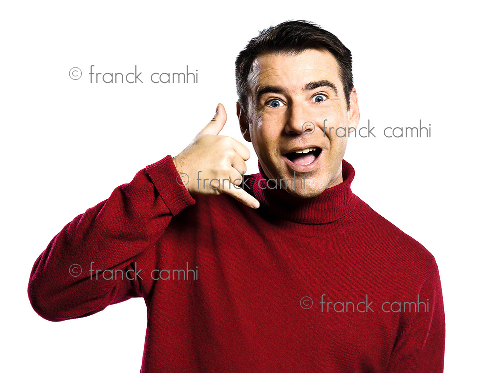 caucasian man call me  telephone gesture studio portrait on isolated white backgound