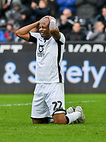 Football - 2019 / 2020 Sky Bet (EFL) Championship - Swansea City vs. West Bromwich Albion<br /> <br /> André Ayew of Swansea City looks frustrated after failing to connect in the box , at The Liberty Stadium.<br /> <br /> COLORSPORT/WINSTON BYNORTH