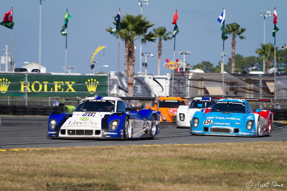 The No. 60 Daytona Prototype Michael Shank Racing Ford Riley leads the pack during the Rolex 24 Hour Race at Daytona International Speedway on January 28, 2012 (Kurt Rivers/KnightNews.com)