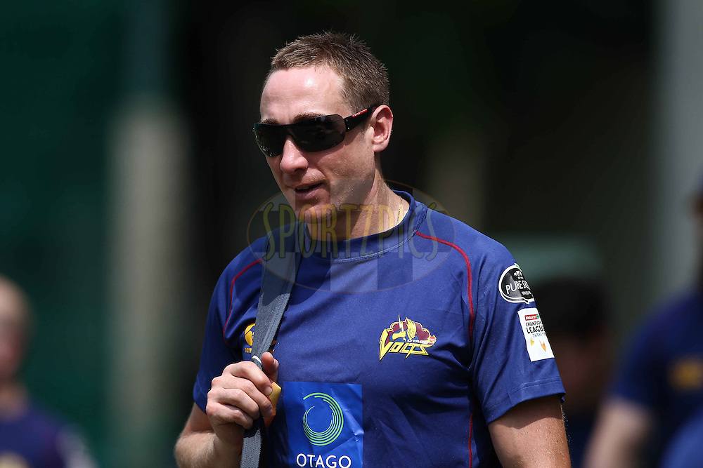James McMillan of Otago Volts during the Otago Volts Training Session training session prior to the start of the Karbonn Smart CLT20 2013 held at the PCA Stadium in Mohali on the 16th September 2013<br /> <br /> Photo by Shaun Roy-CLT20-SPORTZPICS <br /> <br /> Use of this image is subject to the terms and conditions as outlined by the BCCI. These terms can be found by following this link:<br /> <br /> http://www.sportzpics.co.za/image/I0000SoRagM2cIEc