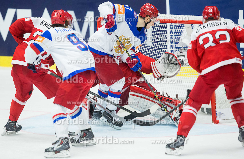 Vadim Shipachyov of Russia vs Sebastian Dahm of Denmark during Ice Hockey match between Russia and Denmark at Day 6 in Group B of 2015 IIHF World Championship, on May 6, 2015 in CEZ Arena, Ostrava, Czech Republic. Photo by Vid Ponikvar / Sportida