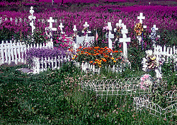 "Ninilchik, AK:  White wood crosses, surrounded by fireweed and flowers, mark graves in the beautiful Russian Orthodox cemetery that tops the hill above town. The name of this picturesque fishing community on the Kenai's west coast means ""peaceful settlement by a river.""  Located approximately 40 miles south of Soldotna, it was settled in the early 1800's by Russian colonists.  Some of the old buildings still exist in the Ninilchik village and many descendants of the old families still live here."