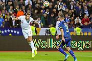 England forward Harry Kane heads the ball across goal during the UEFA European 2020 Qualifier match between Kosovo and England at the Fadil Vokrri Stadium, Pristina, Kosovo on 17 November 2019.