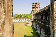19 MARCH 2006 - SIEM REAP, SIEM REAP, CAMBODIA: The south wall of the  upper most level of the Angkor Wat complex near Siem Reap, Cambodia. Cambodian authorities estimate that more than one million tourists will visit Angkor Wat in 2006, making it the leading tourist attraction in Cambodia by a large margin.   Photo by Jack Kurtz