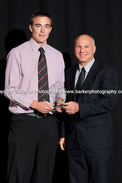 Northern Districts Cricket Awards, Bowler of the Year Graeme Aldridge presented with award by ex NZ and ND player David White, Tainui Novotel Hotel, Friday 8 April 2011, Hamilton, New Zealand.  Photo: Stephen Barker/Barker Photography/PHOTOSPORT  ©Barker Photography www.barkerphotography.co.nz