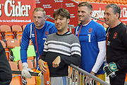Blackpool players with a supporter during the EFL Sky Bet League 1 match between Blackpool and Rochdale at Bloomfield Road, Blackpool, England on 26 September 2017. Photo by Daniel Youngs.