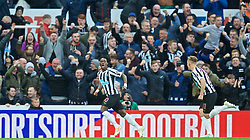 NEWCASTLE-UPON-TYNE, ENGLAND - Saturday, May 4, 2019: Newcastle United's Christian Atsu celebrates scoring the first equalising goal during the FA Premier League match between Newcastle United FC and Liverpool FC at St. James' Park. (Pic by David Rawcliffe/Propaganda)