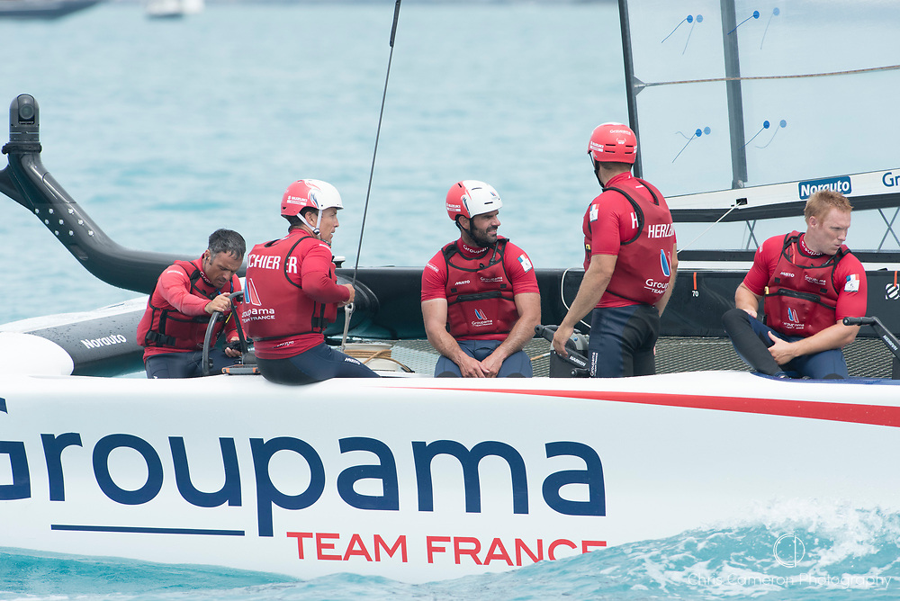The Great Sound, Bermuda. 3rd June 2017.  Groupama Team France lose their last race of the  America's Cup Qualifiers to Artemis Racing (SWE) already knowing they are eliminated from the regatta.