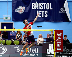 Alex Lane of Bristol Jets hits a smash shot - Photo mandatory by-line: Robbie Stephenson/JMP - 06/02/2017 - BADMINTON - SGS Wise Arena - Bristol, England - Bristol Jets v Surrey Smashers - AJ Bell National Badminton League