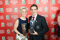 CARDIFF, WALES - Monday, October 8, 2012: Wales' Women's and Men's Players of the Year Jessica Fishlock and Joe Allen during the FAW Player of the Year Awards Dinner at the National Museum Cardiff. (Pic by David Rawcliffe/Propaganda)