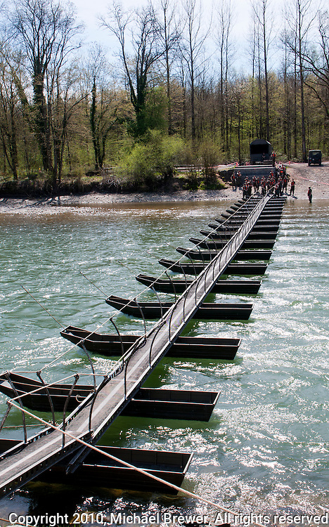 A fine example of pontoon bridge built by the Swiss Army over the River Reuss in Switzerland.