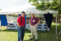Armando Bona shares a story with Dexter Willson about working as a lifeguard during the 1950's prior to the 70th Anniversary celebration of the Kiwanis Pool in St. Johnsbury Vermont.  Karen Bobotas / for Kiwanis International