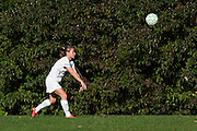 Rice's Haley Mitiguy (1) throws the ball in bounds during the girls soccer game between the Milton Yellowjackets and the Rice Green Knights at Rice Memorial High School on Saturday afternoon October 3, 2015 in South Burlington. (BRIAN JENKINS/ for the FREE PRESS)